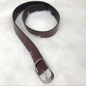 Calvin Klein Full Grain Leather Belt with Studs